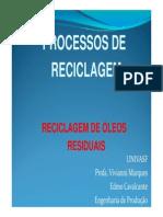 Processo de Reciclagem Reciclagem de Oleo Vivianni Marques