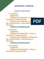 cuadro ÁREA DE COMUNICACIÓN Y LENGUAJE para el progtama aumentativo