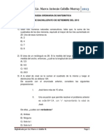 Examen Matemática de  Bachillerato Setiembre 2013 Diurna