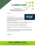 Taxila PGDM Application Form 14-16