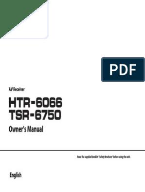 Yamaha Tsr 6750wa Tsr 6750 Htr 6066 Owners Manual