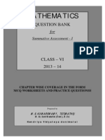 Class Vi Maths Question Bank