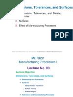 Dimensions, Tolerances, And Surfaces