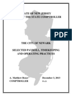 Office of the State Comptroller Report on Newark Spending