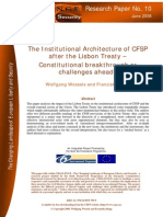 The Institutional Architecture of CFSP after the Lisbon Treaty – Constitutional breakthrough or challenges ahead?