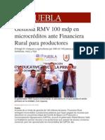 29-11-2013 Milenio.com - Gestiona RMV 100 mdp en microcréditos ante Financiera Rural para productores