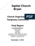 Church Organization Temporary Committee Report