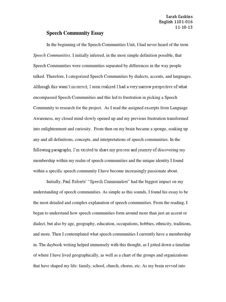 speech community essay singing speech