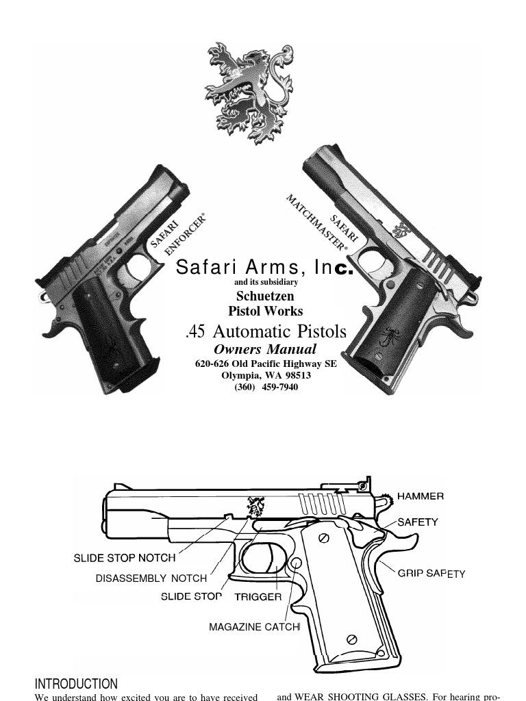 Safari Arms 1911 Enforcer Match Master Pistol Cartridge Firearms 1911assemblydiagram Printable Gun Schematics Exploded Handgun