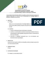 Edital Final Especializacao 2013