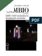 02-12-2013 Diario Matutino Cambio de Puebla - RMV y ERP encienden la iluminación navideña