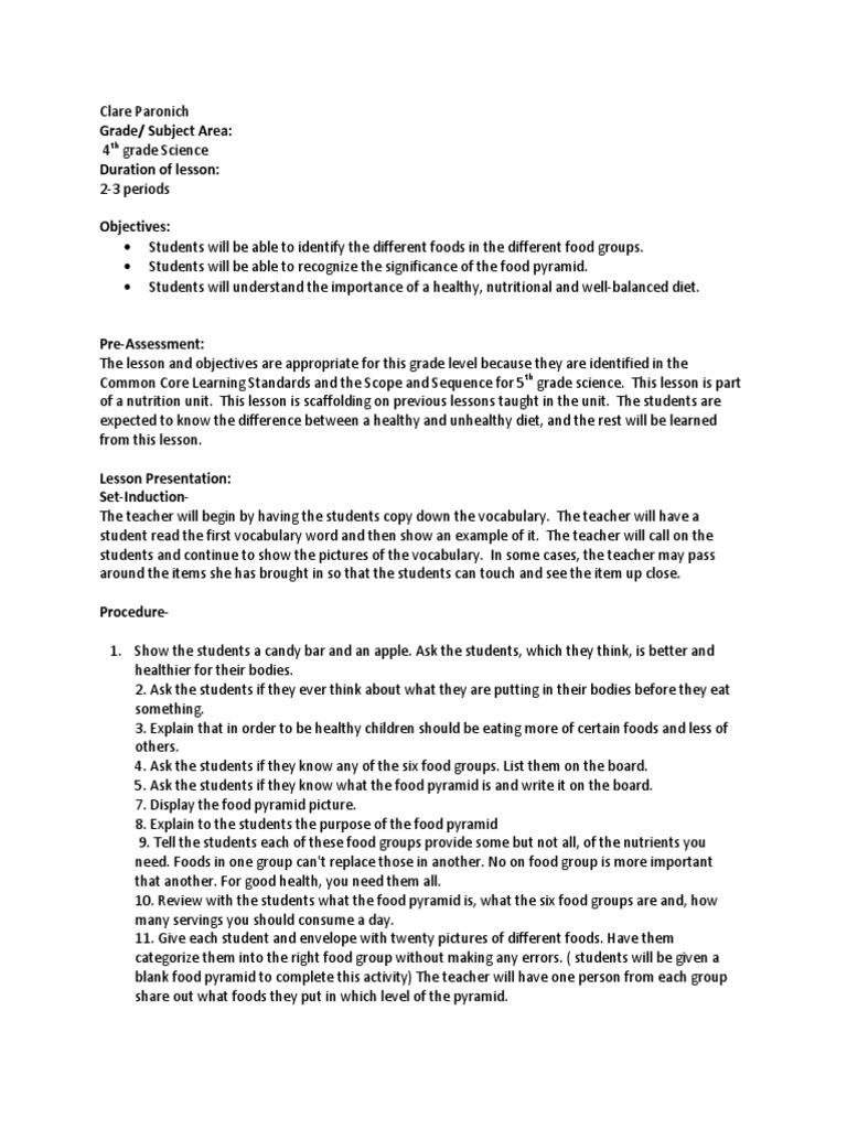 science lesson units determinants of health food wine