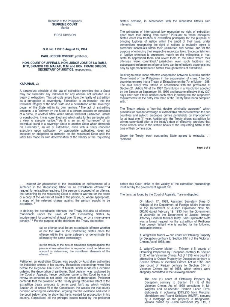 Wright Vs CA. Full Text | Ex Post Facto Law | Extradition
