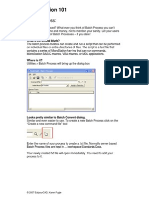 Batch Process- Microstation | Computer File | Operating