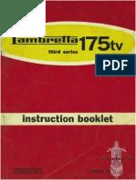 Instruction Booklet Manual Lambretta 175tv third series