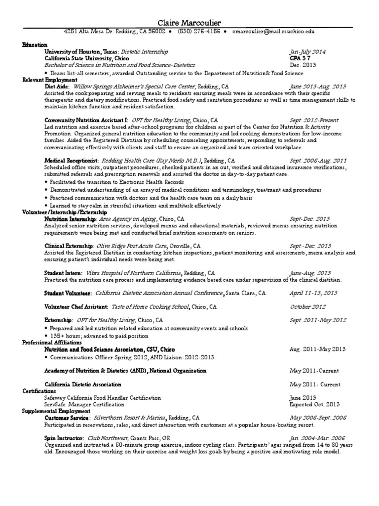 Marcoulierclaireresume Dietitian Health Care