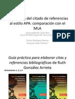 Presentación - Explicación de la citación de referencias al estilo APA. Comparación con MLA.