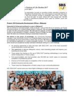 SOLS 24/7 Project 100 Community Development Officer Job Description - Malaysia