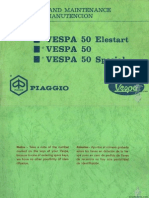 Vespa 50, 50 Elestart, 50 Special Piaggio Operation & maintenance