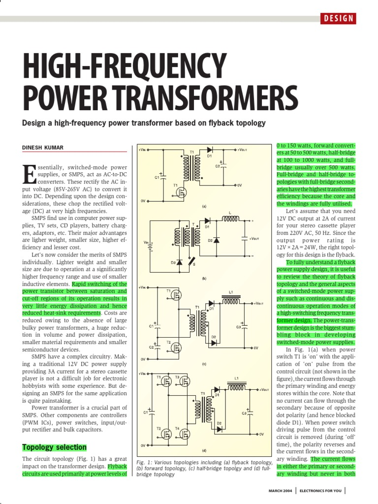 High Frequency Power Transformers- Design a High-frequency
