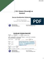 MKM 311 Sistem Dinamiği ve Kontrol_Durum Denklemleri