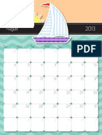 2013 August Printable Calendar Color