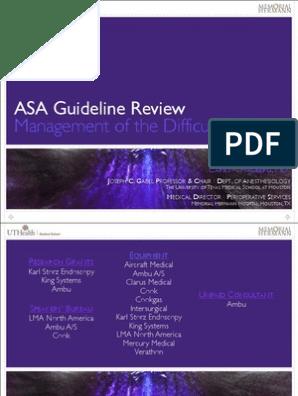 ASA Guideline Review | Anesthesia | Medicine