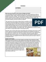 Recipe Card Evaluation