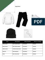 Costume list