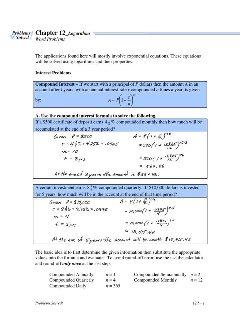 word problems   Compound Interest   Interest