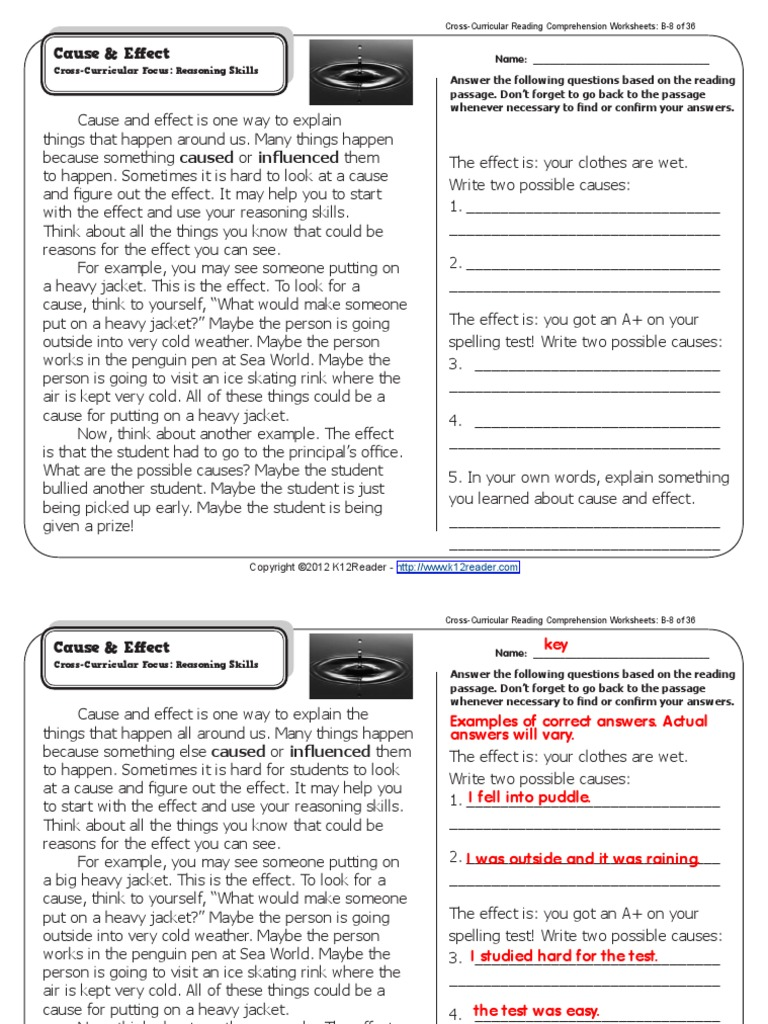 Worksheets Cross-curricular Reading Comprehension Worksheets cause and effect causality reading process
