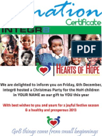 Hearts of Hope Donation Certificate - 2013
