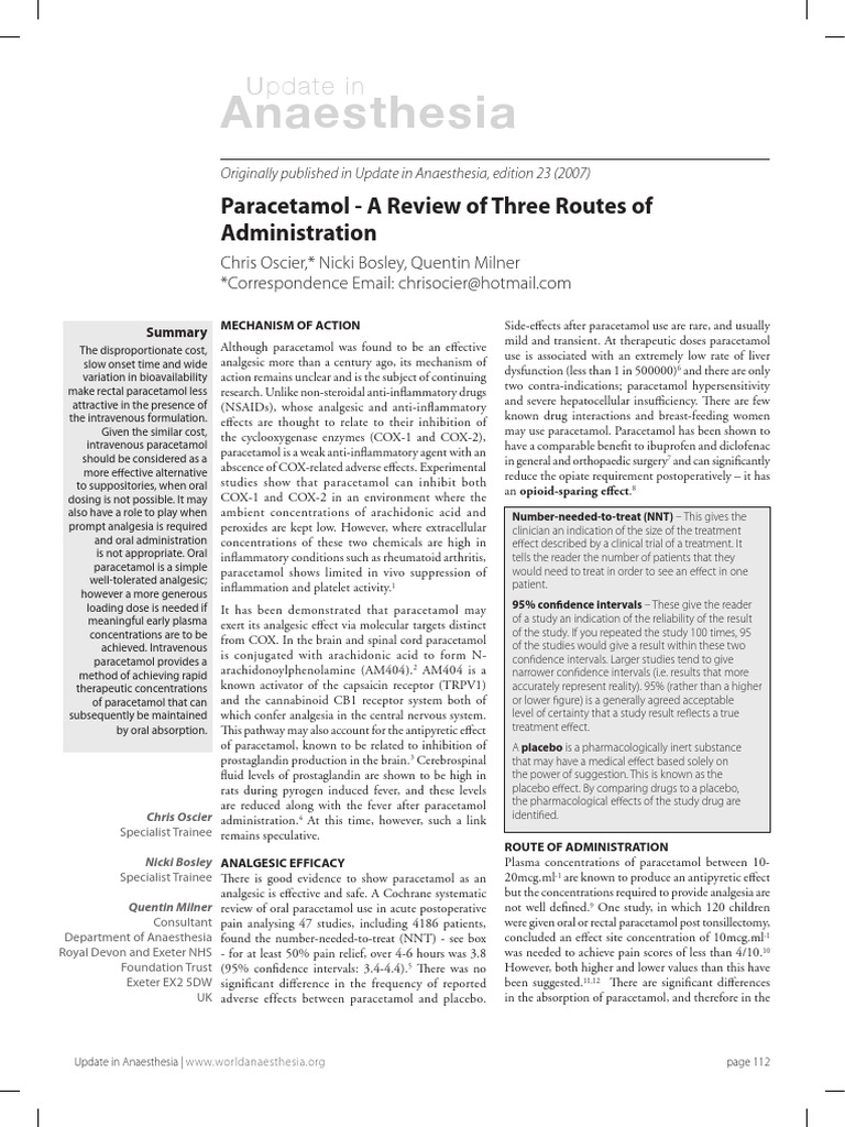 Paracetamol a Review of Three Routes of Administration