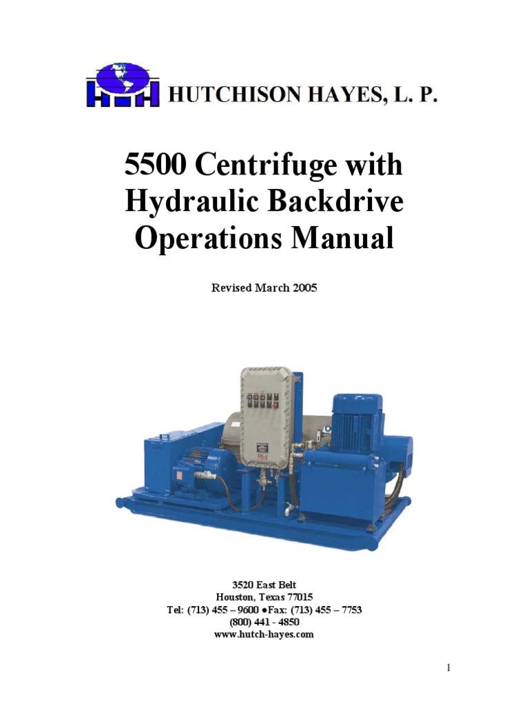 5500 centrifuge hydraulic backdrive operations manual pump corrosion rh es scribd com
