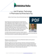 The Role of Isolator Technology in Pharmaceutical Manufacturing