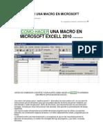 Como Hacer Una Macro en Microsoft Excell 2010
