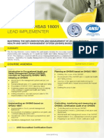 Certified OHSAS 18001 Lead Implementer - Four Page Brochure