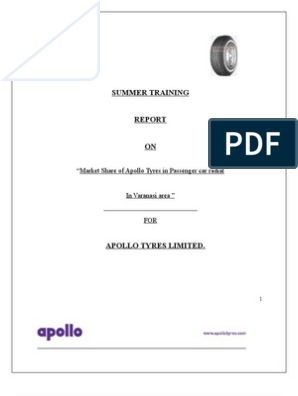 Project on Apollo Tyres Ltd for PCR | Promotion (Marketing