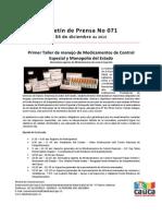 Boletín 071_ Primer Taller de manejo de Medicamentos de Control Especial y Monopolio del Estado