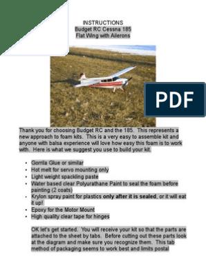 cessna 185 scratch built rc Instructions pdf | Aerospace Engineering