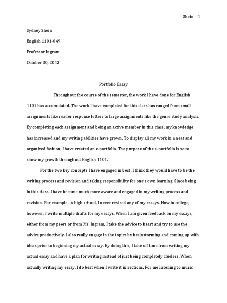 Example Essay Thesis Statement Essay About Good Health With  Portfolio Essay Example Writing A Process Essay Examples Portfolio Essay  Example English Sample Cover Letter High