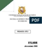 Derecho, Año 1, UNMSM.syllabus_1_2009