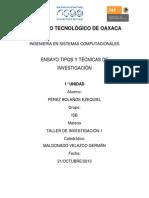 ENSAYO TIPOS Y TÉCNICAS