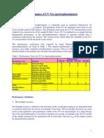 Performance of UV-Vis Spectrophotometers