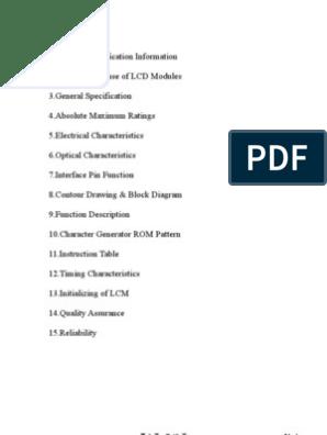 Datasheet Lcd 16x2 | Backlight | Dynamic Random Access Memory