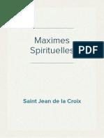 Saint Jean de La Croix - Maximes Spirituelles