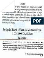 Solving the Hazards of Unions and Volunteer Relations in Government Organizations  Abstract