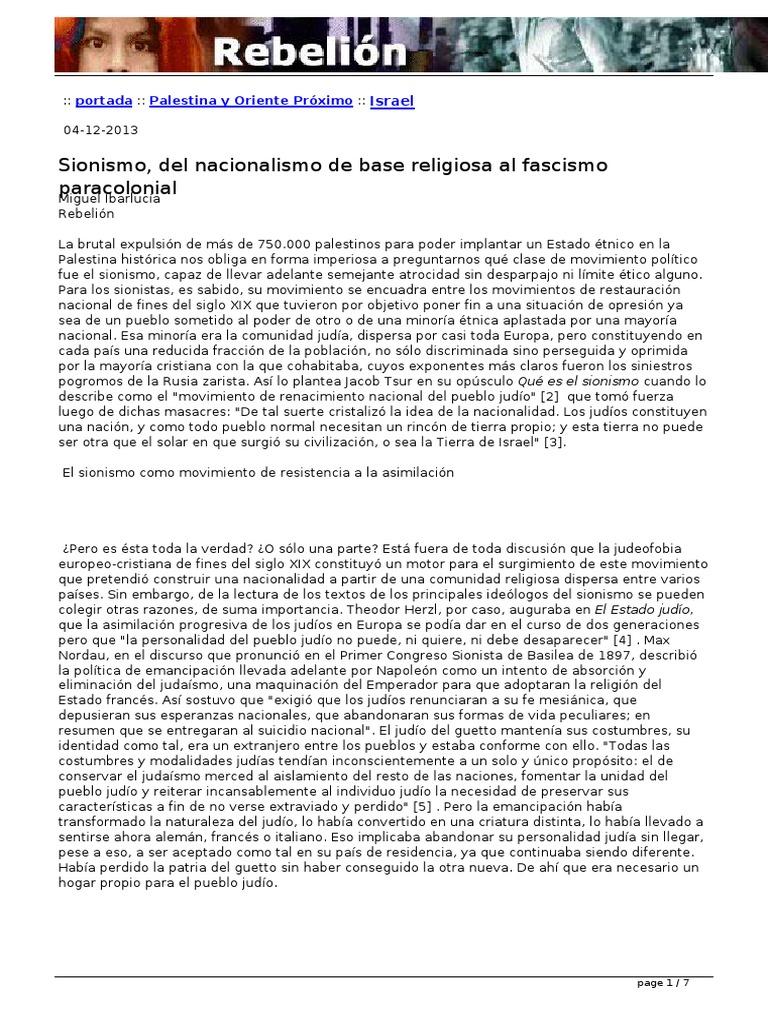 Sionismo del nacionalismo de base religiosa al fascismo paracolonial ...