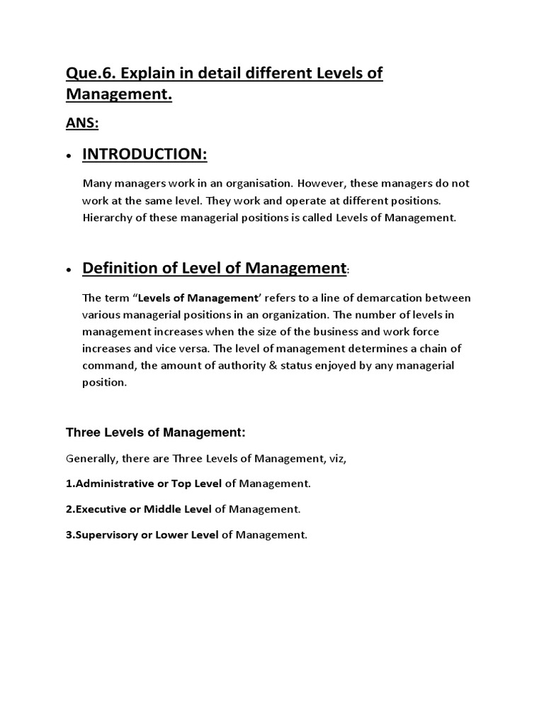 Levels of Management | Chief Executive Officer | Board Of