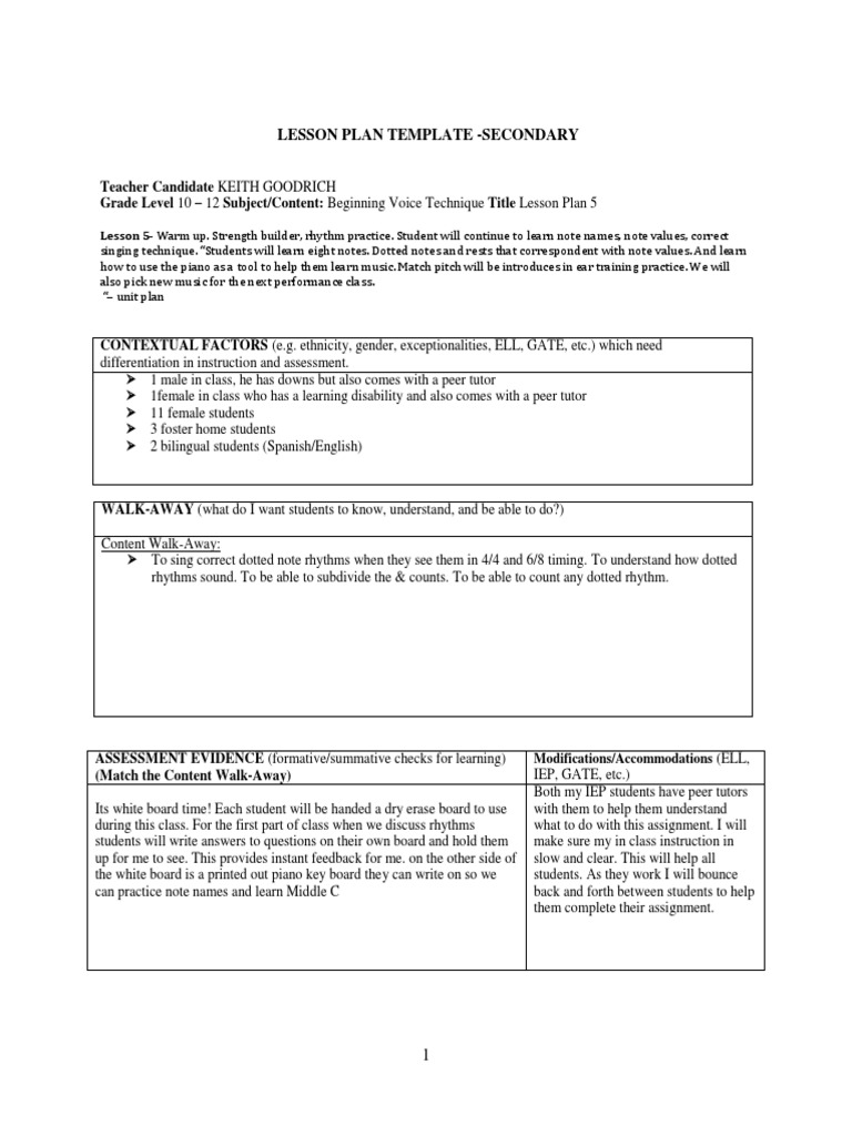 Lessons 1 5 Inclusive Singing Educational Assessment